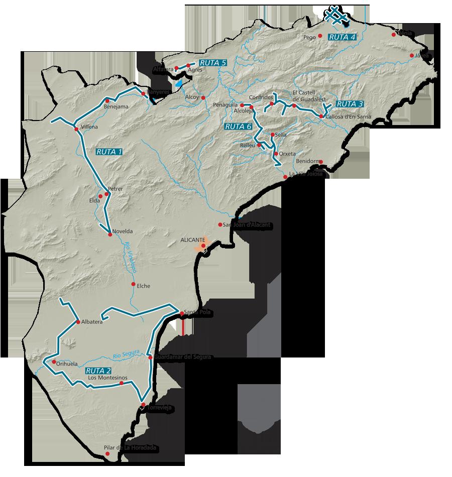 Mapa Provincia De Alicante.Mapas Rutas Azules De Alicante