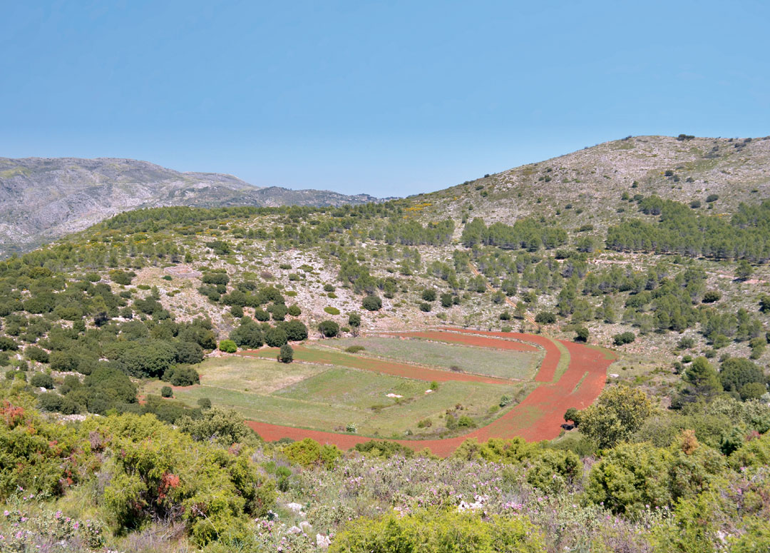 Panoramic view of the La Llacuna doline of Castell de Castells